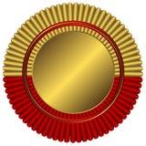 Medalla de oro con la cinta roja Imágenes de archivo libres de regalías