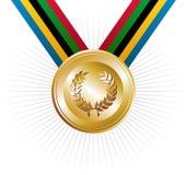 Medalla de oro de los juegos de las Olimpiadas con la guirnalda del laurel Imagen de archivo libre de regalías