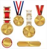 Medalla de oro en blanco con la cinta tricolora Imagenes de archivo