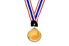 Medalla de oro en blanco en blanco Imagen de archivo libre de regalías
