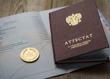 Medalla de oro y diploma del graduado Imagen de archivo libre de regalías
