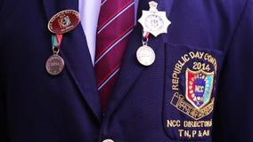 Medalla del campo del desfile del día de la república del Ncc almacen de metraje de vídeo