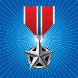 Medalla militar en starburst azul Foto de archivo