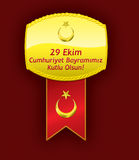 Medalla turca de la bandera Celebración del día de la república Fotos de archivo