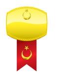 Medalla turca de la bandera y de oro Imagenes de archivo
