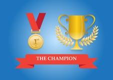Medalla y trofeo del campeón Imagenes de archivo