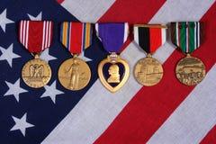 Medallas americanas de la guerra Imágenes de archivo libres de regalías