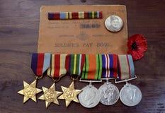 Medallas australianas de la campaña de la Segunda Guerra Mundial del ejército Foto de archivo libre de regalías