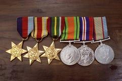 Medallas australianas de la campaña de la Segunda Guerra Mundial del ejército Imagenes de archivo