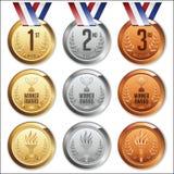 Medallas con la cinta Conjunto de las medallas del oro, de plata y de bronce Imagen de archivo