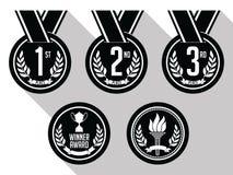 Medallas con la cinta plano Conjunto de las medallas del oro, de plata y de bronce Rebecca 36 Fotografía de archivo
