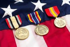 Medallas de los militares de la bandera de los E.E.U.U. Imagen de archivo