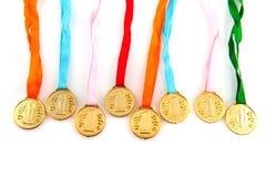 Medallas de oro Foto de archivo libre de regalías