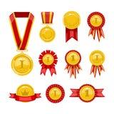 Medallas de oro Imagenes de archivo