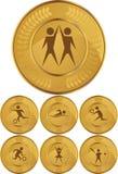 Medallas de oro olímpico ilustración del vector