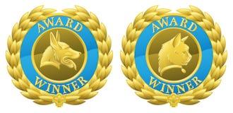 Medallas del animal doméstico del gato y del perro del oro Fotos de archivo libres de regalías