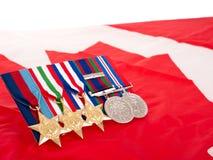 Medallas del canadiense de la Segunda Guerra Mundial Imagen de archivo libre de regalías