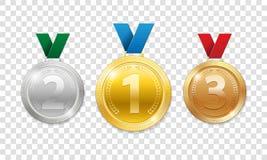 Medallas del premio del campeón para el premio del ganador del deporte El sistema del oro realista 3d, la plata y el bronce conce ilustración del vector