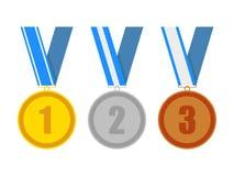 Medallas del premio de la plata y del bronce del oro Fotos de archivo libres de regalías