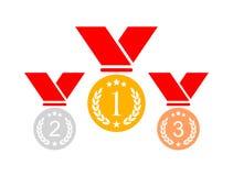Medallas del premio fijadas stock de ilustración