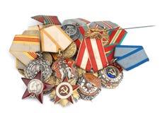 Medallas del ruso de la Segunda Guerra Mundial Fotos de archivo libres de regalías