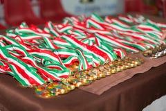 medallas en la tabla Fotografía de archivo