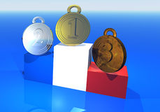 Medallas francesas en el podium Fotos de archivo libres de regalías