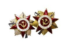 Medallas soviéticas de la guerra de WWII Fotos de archivo libres de regalías