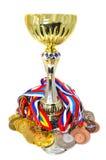 Medallas y trofeo de los deportes Fotografía de archivo