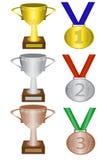 Medallas y trofeos stock de ilustración