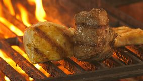 Medallion with beef and two pieces of chicken fillet or turkey on the grill brought to the ready in the background a. Flame of coals and smoke, in the stock video footage