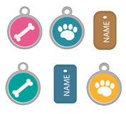 Medallion, dog tag set of icons, flat, cartoon style. Isolated on white background. Vector illustration, clip-art. Royalty Free Stock Image