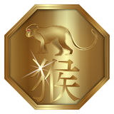 Medallion monkey symbol of the year. Vector illustration of a gold locket with a picture of a monkey symbol of the year, the picture is engraved on a gold plate Stock Images