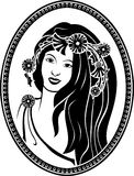 Medallion vignette,  portrait of a girl Royalty Free Stock Photo