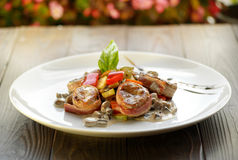 Medallions grilled with vegetables Stock Photo