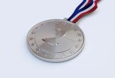 Medallista de plata con número Imagen de archivo libre de regalías