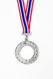 Medallista de plata con su propia insignia o texto Imagen de archivo libre de regalías