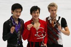 Medallistas en el solo patinaje de hombres Fotografía de archivo