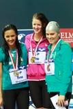 medallistas IM del 100m Imagen de archivo libre de regalías