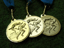 Medals 2. Athletics medals for a winner or champion Stock Photography