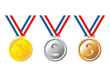 Medals. Set of gold, silver and bronze medals with tricolor ribbon over white background Royalty Free Stock Photography