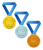 Medals. Three winners medals, bronze silver and gold, with laurel wreaths and space for your text Stock Photos