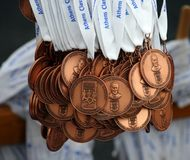 Medals of the 27th Athens Classic Marathon Stock Photo