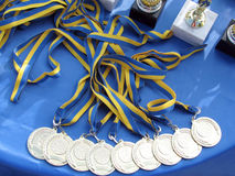 Medals. Many medals on the table Stock Photography