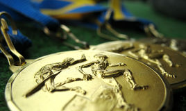 Medals 4. Athletics medals for a winner or champion Royalty Free Stock Photo