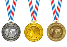 The medals. The olympic medals, vector Illustrations Stock Photography