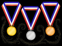 Medals-6. Medals on black background. Vector Stock Images