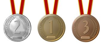 Medals. First, second, third place medals,  silver, gold and bronze isolated on white Stock Photography