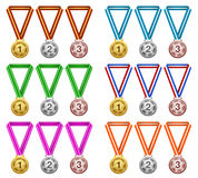 Medals, Award, Success, Champion. Vector Illustration of Gold, Silver, Bronze Medals. Best for Victory, Sports, Success, Event, Competition, Design Element Stock Illustration