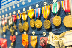 Medals and awards of armed forces. Museum exhibit of insignia signs Royalty Free Stock Photo